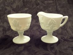 Vintage Milk Glass Creamer and Sugar Set Harvest Grapes Pattern - Excellent Condition