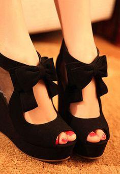 Sweet Bowknot Peep-toe Wedge High-heeled Shoes