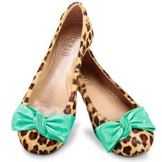 leopard flats with teal bow Ankle Boots, Shoe Boots, Shoes Heels, Sock Shoes, Cute Shoes, Me Too Shoes, Half Shoes, Cinderella Slipper, Shoe Closet