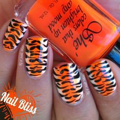 Great manicure for a Cincinnati Bengals game!!!   Instagram media by _nail_bliss_ #nail #nails #nailart