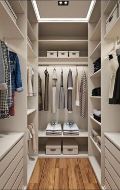 love this look - clean, well lighted, orderly closet!