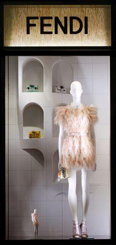The Fendi window theme 'Traces of Palazzo della Civiltà Italiana' at the Milan boutique | cynthia reccord