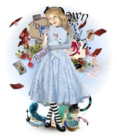 """""""Alice in wonderland doll ***READ THE DESCRIPTION VERY IMPORTANT!!!!!*** (Top art set for September 3rd 2016)"""" by leeloowheeler ❤ liked on Polyvore featuring art, Wonderland and DollsetsbyLeeloo"""