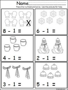 Free winter math subtraction page for Kindergarten and grade. Students practice subtracting one using the pictures for help.(Green and Orange Groups) Subtraction Kindergarten, Kindergarten Classroom, Teaching Math, Kindergarten Worksheets, Math Activities, 1st Grade Math, Grade 2, Homeschool Math, Math For Kids
