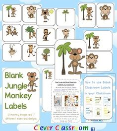Jungle Monkey Themed Blank Classroom Labels - PDF file - 48 pages, designed by Clever Cla...