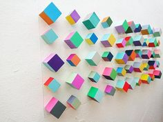 Wood wall art Modern and geometric wood wall art Mosaic Cube Art art Floating Wall decor Hand painted is part of Geometric Wood Art Etsy - Small x Geometric Wall Art, 3d Wall Art, Wooden Wall Art, Wood Wall, Art 3d, Auction Projects, Art Projects, Wooden Cubes, Deco Design