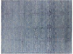Hand Knotted Hi-Lo Pile Wool & Silk Contemporary Rug