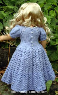 ABC Knitting Patterns - American Girl Doll Snow Princess Dress