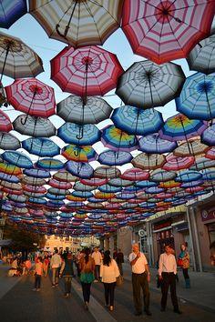Multicolor umbrellas on Autumn Festival in Botosani, Romania
