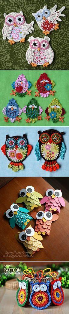 Совы. Вязание игрушек крючком / Вязание игрушек на спицах и крючком, схемы и… Head Bands, Owls, Crocheting, Crafts, Manualidades, Crochet, Chrochet, Headband Bun, Handmade Crafts