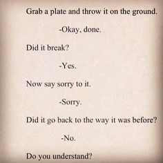 Grab a plate and throw it on the ground. -Okay, done. Did it break? -Yes. Now say sorry to it. -Sorry. Did it go back to the way it was? -No. Do you understand? -----What's the lesson to be learned here? Your words can do irreparable damage. Choose them wisely.