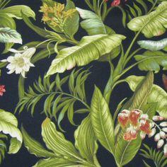 Waverly+Tropical+Fabric | ... Wailea Coast Tropical!/ black/ Outdoor Upholstery Fabric (By Waverly