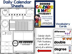 Daily Calendar and Math Vocabulary