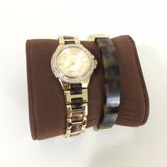 Will be nicer with the Tortoise bangle --> Michael Kors Mini Watch Tortoise Gold CAMILLE MK4291 Bangle MKJ1031 Set $325 #MichaelKors #Dress #Watch #Tortoise #accessories $159.77