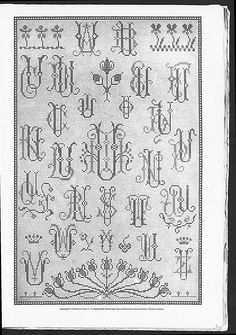 Cross stitch monograms and borders, some with Art nouveau influences.   (visit site for bigger picture)  Gracieuse. Geïllustreerde Aglaja, 1904, aflevering 3, pagina 35