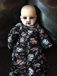 "OOAK Goth Reborn Homemade Blackout Eyes  20"" Crimson Moon Demon Baby Horror Doll"