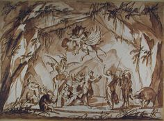 Interior of a Witches Cave with Devils and other Monsters - anonymous, Italian  - bequeathed by Francis Douce, 1834, and transferred from the Bodleian Library - WA1863.872 - http://www.ashmolean.org/ash/objects/?mu=770