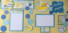 """Two 12""""x12"""" pre-made scrapbook pages for your baby boy's bath time pictures by Carolsues on Etsy"""