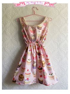 Cute cupcakes dress with lace details and by MyNameIsSueclothes, €50.00