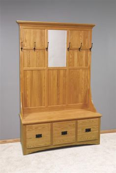 Our Amish handcrafted Mission Hall Tree with Storage Bench 3 Drawer is perfect for the mudroom.