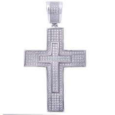 Cross Pendant Cross Charm Round Micro Pave Cubic Zirconia Hip Hop Ice Bling Unisex Men Women 925 Sterling Silver (55mm). Metal type: 92.5% sterling silver; Pendant Measurements : 55x31mm. Change the color to rose, yellow, black gold plated (extra charge). Gift box includes. Excellent gift.