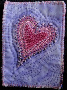 nice combination of stitches - - - Embroidered heart by Karen as seen at ArtFabrik | Laura Wasilowski