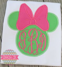 Lime and Pink Minnie Mouse personalized appliqued shirt - Birthday or Disney
