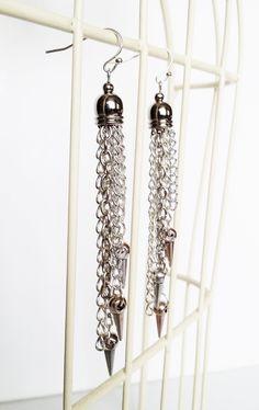 """Boucles d'oreilles multi-chaînes, collection """" Rock On ! """", métal argenté : Boucles d'oreille par le-bazar-des-reves"""