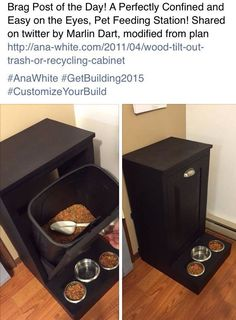 Cat Food Station Pets Care - Dog feeding station -- needs a sealed bin to keep the food from getting stale or attracting ants. Cute idea though. ~Cara The way cats and dogs eat is related to their animal behavior and their different domestication process. Pet Food Storage, Storage Ideas, Baby Storage, Diy Storage For Toys, Kitchen Storage, Dog Feeding Station, Dog Station, Dog Rooms, Dog Houses