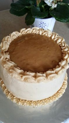 Tres Leches Cake With Dulce De  Leche Swiss Meringue  Buttercream Frosting