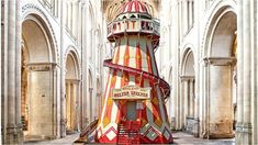 A fairground ride has been installed in Norwich Cathedral's nave to give visitors a better view of its ornate ceiling, but not everyone is delighted with this controversial 'fun' feature Rochester Cathedral, Norwich Cathedral, Architecture Tattoo, Architecture Details, Indoor Slides, Church News, The Cloisters, Sistine Chapel, Theatre Design