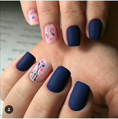 35 besten Navy Nail Art-Ideen mit Bildern 30 + Creative Navy Nail Art Designs zu I … - Nageldesign Navy Nail Art, Navy Nails, Blue Matte Nails, Matte Pink, Acrylic Nails, Gel Nails, Nail Polish, Shellac, Marine Nails