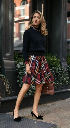 30 DRESSES IN 30 DAYS: Office Holiday Party, Business Casual //  Red tartan plaid shirt dress paired with a navy cable knit sweater, black bow pumps and a brown leather bag {Brooks Brothers, Miu Miu, JW Anderson, holiday style, Christmas style, fashion blogger, street style, holiday party, what to wear to an office holiday party, wear to work, professional style, office party, festive style}