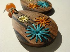 Retro Embroidered Wood Earrings