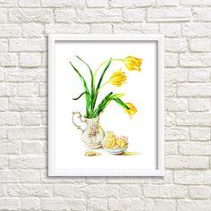 Still Life Yellow Tulips with marshmallow от DariyPrintJulia