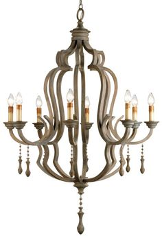 "Currey and Company 9010 Washed Gray Waterloo 59""H 8 Light Chandelier"