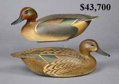 """Pair of """"greenwing teal duck decoys""""  by the Ward Brothers"""