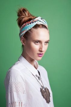 How to use a scarf to style a top-knot.