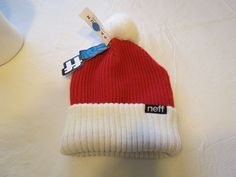 Mens Neff head wear beanie surf skate NEW RARE one size fits most red white #Neff #Beanie