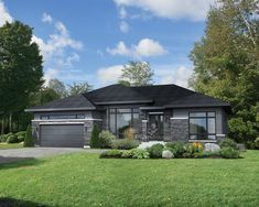This roomy bungalow features architectural details that bring out its beauty, such as a stone, wood and aluminum facing, various roof slopes and large windows. The house is 58 feet 10 inches wide by 40 feet deep, provides square feet of living space New House Plans, House Floor Plans, Modern Bungalow House Plans, Exterior Colors, Exterior Design, Plan Chalet, Prairie Style Houses, Facade Architecture, Prefab Homes