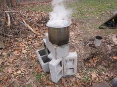 2-minute 6-block Rocket stove