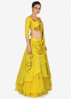 Corn Mustard Layered Lehenga With Raw Silk Blouse And Pre Stitch Dupatta Online - Kalki Fashion Indian Designer Outfits, Indian Outfits, Designer Dresses, Indian Bridal Lehenga, Indian Bridal Fashion, Choli Designs, Lehenga Designs, Indian Gowns Dresses, Unique Dresses