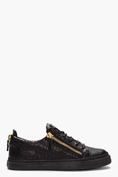 GIUSEPPE ZANOTTI BLACK CROC-EMBOSSED LEATHER LOW-TOP SNEAKERS - http://africanluxurymag.com/shop-item/giuseppe-zanotti-black-croc-embossed-leather-low-top-sneakers/