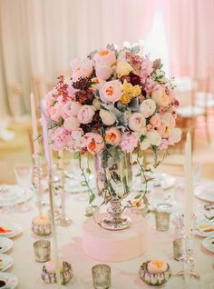 Featured photographer: Steve Steinhardt; Pink wedding reception centerpiece idea