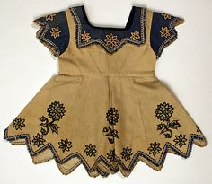 Dress (1868)    Too-too sweet dagged edge, bound in trim, with floral motif.