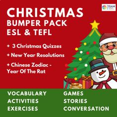 Christmas ESL TEFL Bumper Pack by TEAM TEFL | Teachers Pay Teachers English Language Learners, Spanish Language Learning, Language Arts, Vocabulary Exercises, Vocabulary Games, Teaching Strategies, Teaching Resources, Picture Writing Prompts, Sentence Writing