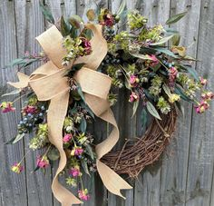 Wreath, Wreath Great for All Year Round, Everyday Burlap Wreath, Door Wreaths, Front Door Wreath, Plum, Blue, Hops, All Year Long Wreath by HornsHandmade on Etsy https://www.etsy.com/listing/558475933/wreath-wreath-great-for-all-year-round