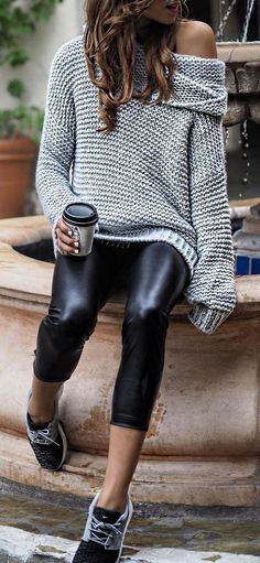 #fall #outfits Grey Wool Sweater // Skinny Leather Pants // Sneakers