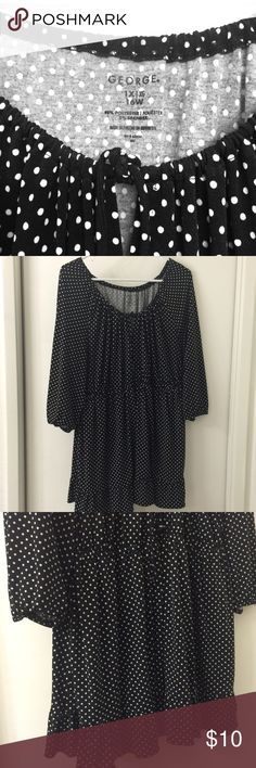 Polka dotted peasant style top - sz16 Polka dotted blouse. Business casual. Black with white polka dots. Thin Polyester material keeps wrinkles away. Size 1x / 16 w. George Tops Blouses