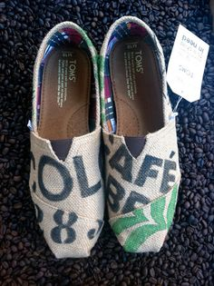 Custom TOMS shoes - Burlap, Coffee bag design